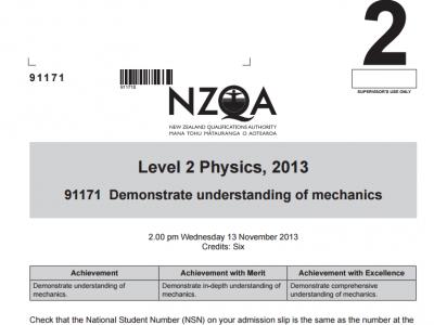 2013 NCEA Mechanics Exam and Answers | PhysicsTube