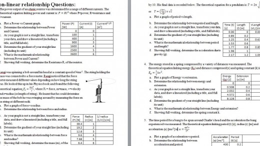 A.S. 2.1 Non-linear graphing practice (with ANSWERS!)