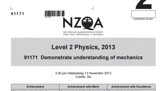 2013 NCEA Mechanics Exam and Answers