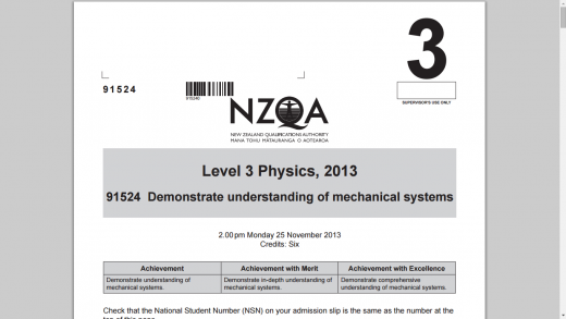 NCEA 2013 Mechanics question paper & Schedule