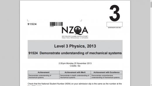 NCEA 2013 Mechanics question paper & Schedule